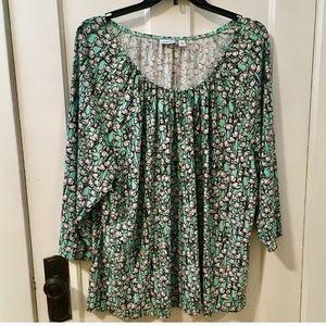 2/$15 Mint Green Croft & Barrow Tulip Shirt 1x